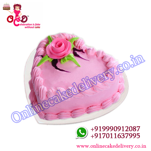 Strawberry heart shaped valentine day special cake