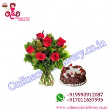 valentine black forest cake N Red Charm : 6 Red Roses