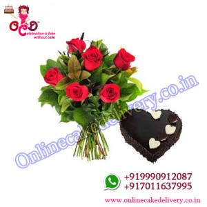 valentine's day chocolate cake N Red Charm  : 01 KG + 06 RED ROSES