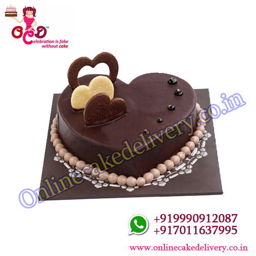 Chocolate valentines day heart cake half kg