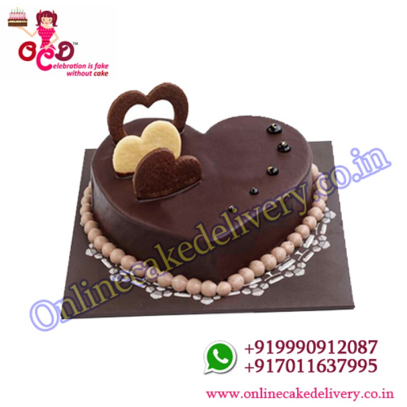 Chocolate Valentines Day Heart Cake Half Kg Ocd Online Cake Delivery