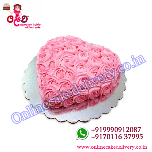 Pink Flower Heart 1kg Vanilla valentine cakes for delivery