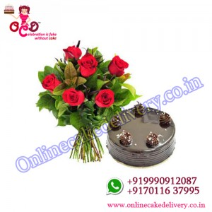 Choco Truffle N Red Charm valentine's day cake : 500 gms +06 red roses