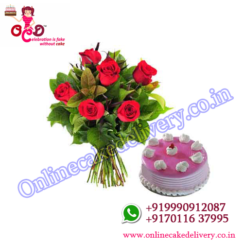 Valentines day cakes for him Strawberry N Red Charm : 500 gms +06 red roses