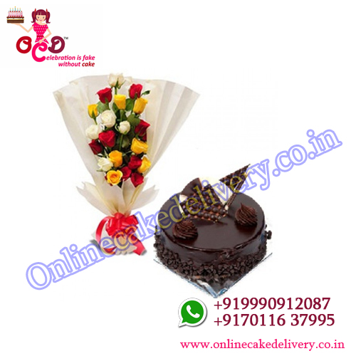 Sweet Gesture with best cake for valentine's day : 500 gms +12 Mix roses