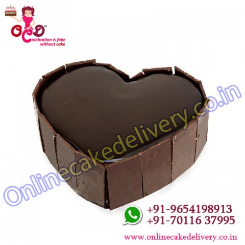 heart-shaped chocolate truffle cake
