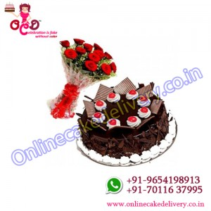Chocolate Flake Cake and Red Roses Combo + 10 Red Rose
