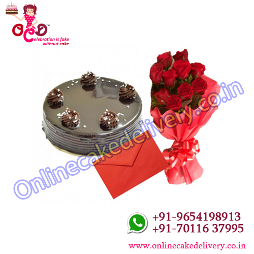 Chocolate truffle cake and Flower with greeting card -Bouquet of 10 Red Roses