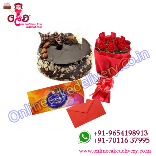 Choco almond cake, flower, and greeting card and Cadbury Celebration combo