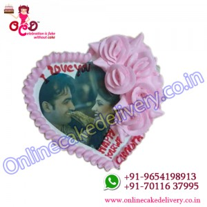 Strawberry Heart Shaped Photo Cake