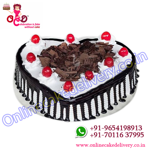 black forest birthday cake in heart shape