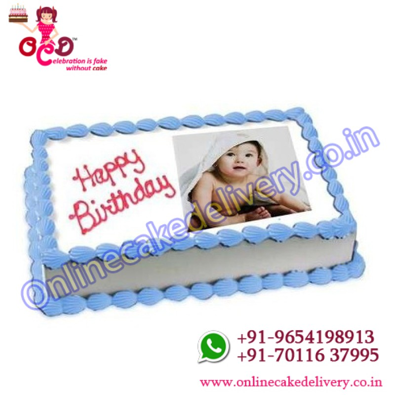 Vanilla Birthday Cake With Personal Photo