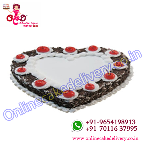 Black forest heart shape cake is best selling cake