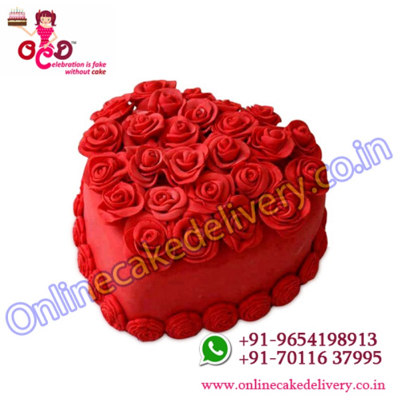 Hot Red Heart Cake For Valentine Gift Online