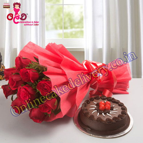 red rose with cake