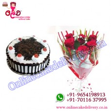 Half Kg Round Black Forest Cake with a Bunch of 6 Red Roses