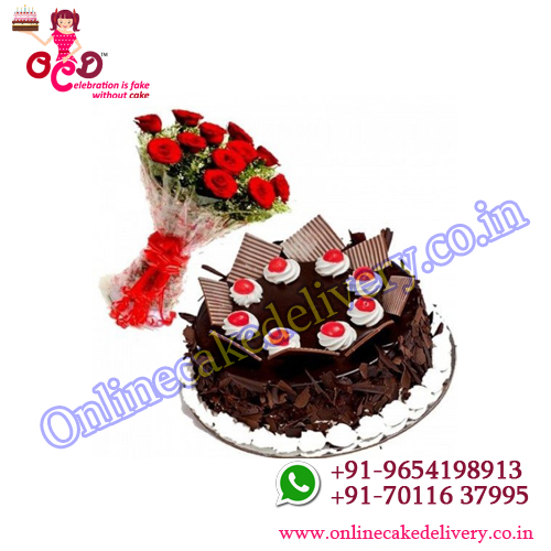 Chocolate  Cake with Red Roses Combo