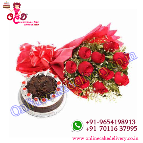 red rose flower bouquet with cake black forest